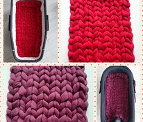 Chunky baby blanket for stroller from 100% merino wool