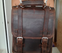 Heavy Duty Full Leather Backpack with Front Pocket L62